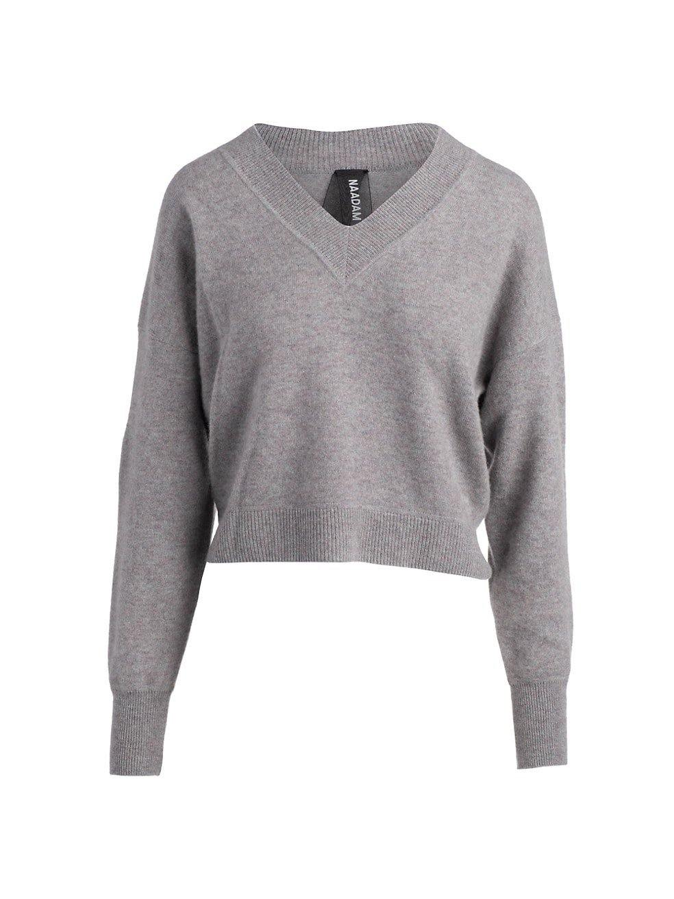 Deep V Neck Cashmere Pullover - Marled Grey - Wheat Boutique