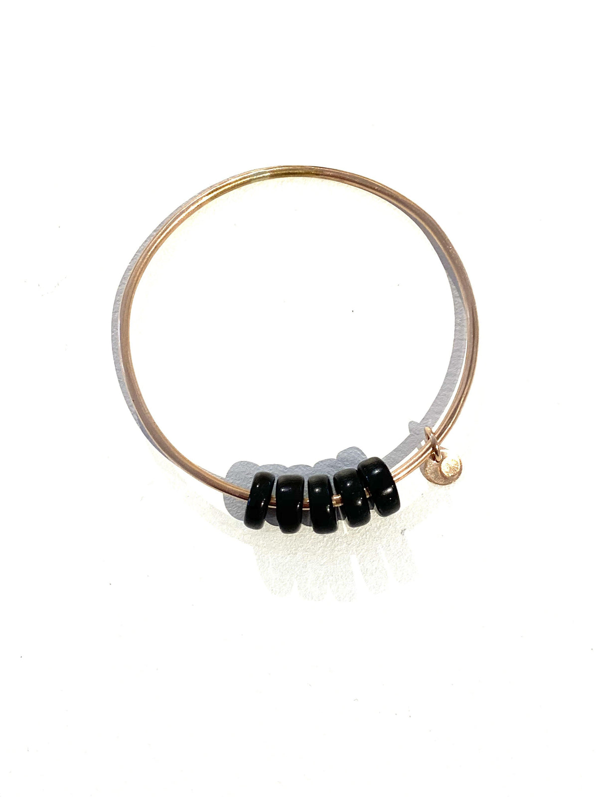 Gold Bangle Black Obsidian Beads