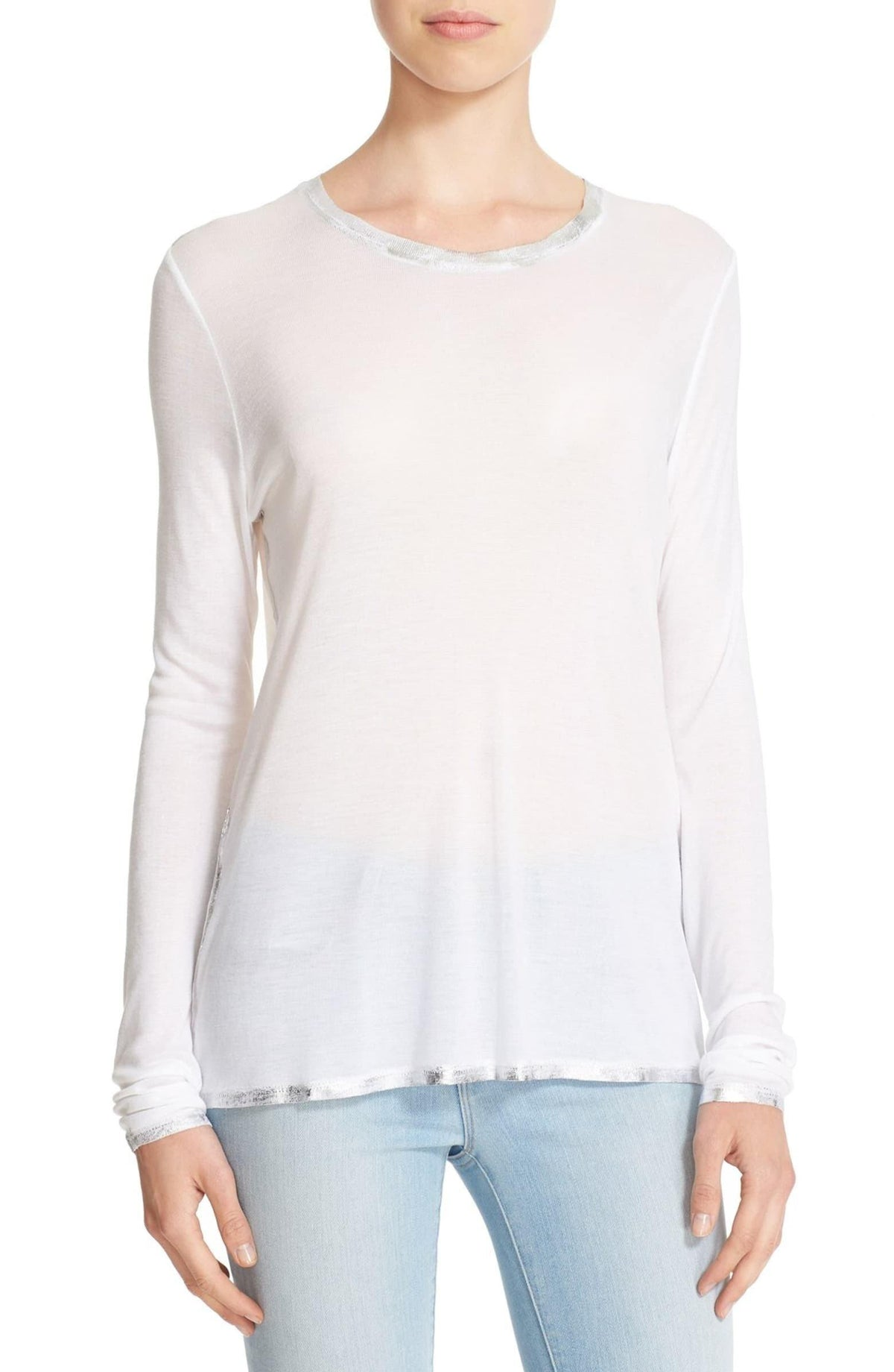 Willy Foil Long Sleeve - White - Wheat Boutique
