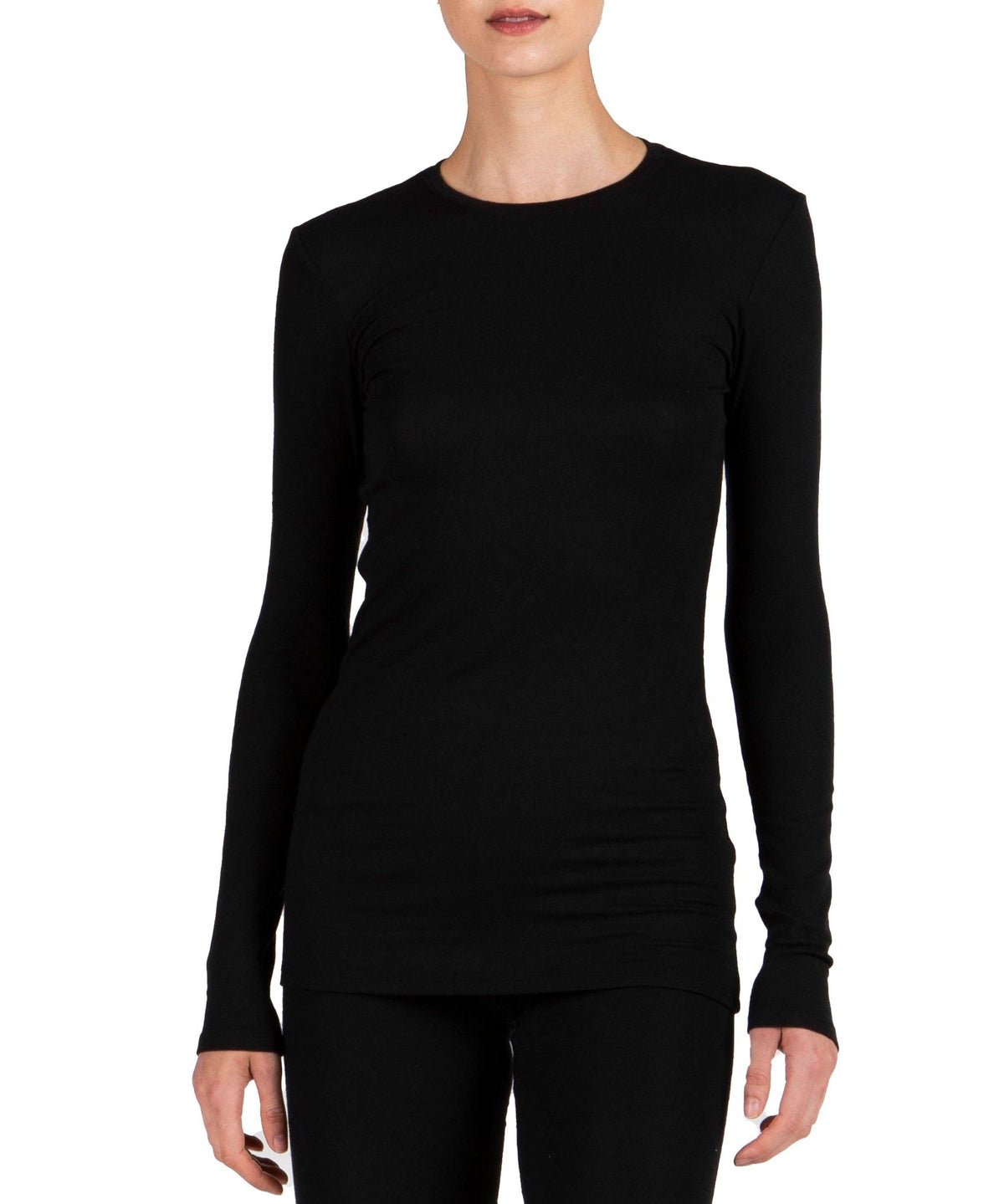 Ribbed Long Sleeve Tee - Black - Wheat Boutique