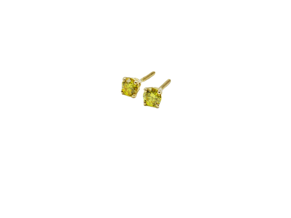 14k Yellow Gold Canary Diamond Earrings