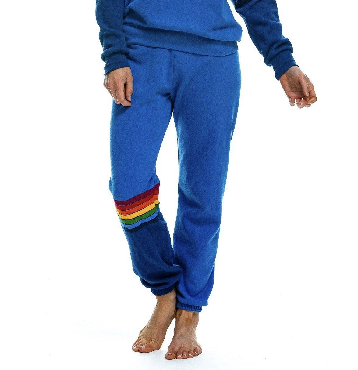 Rainbow Stitch Sweatpants - Cobalt - Wheat Boutique