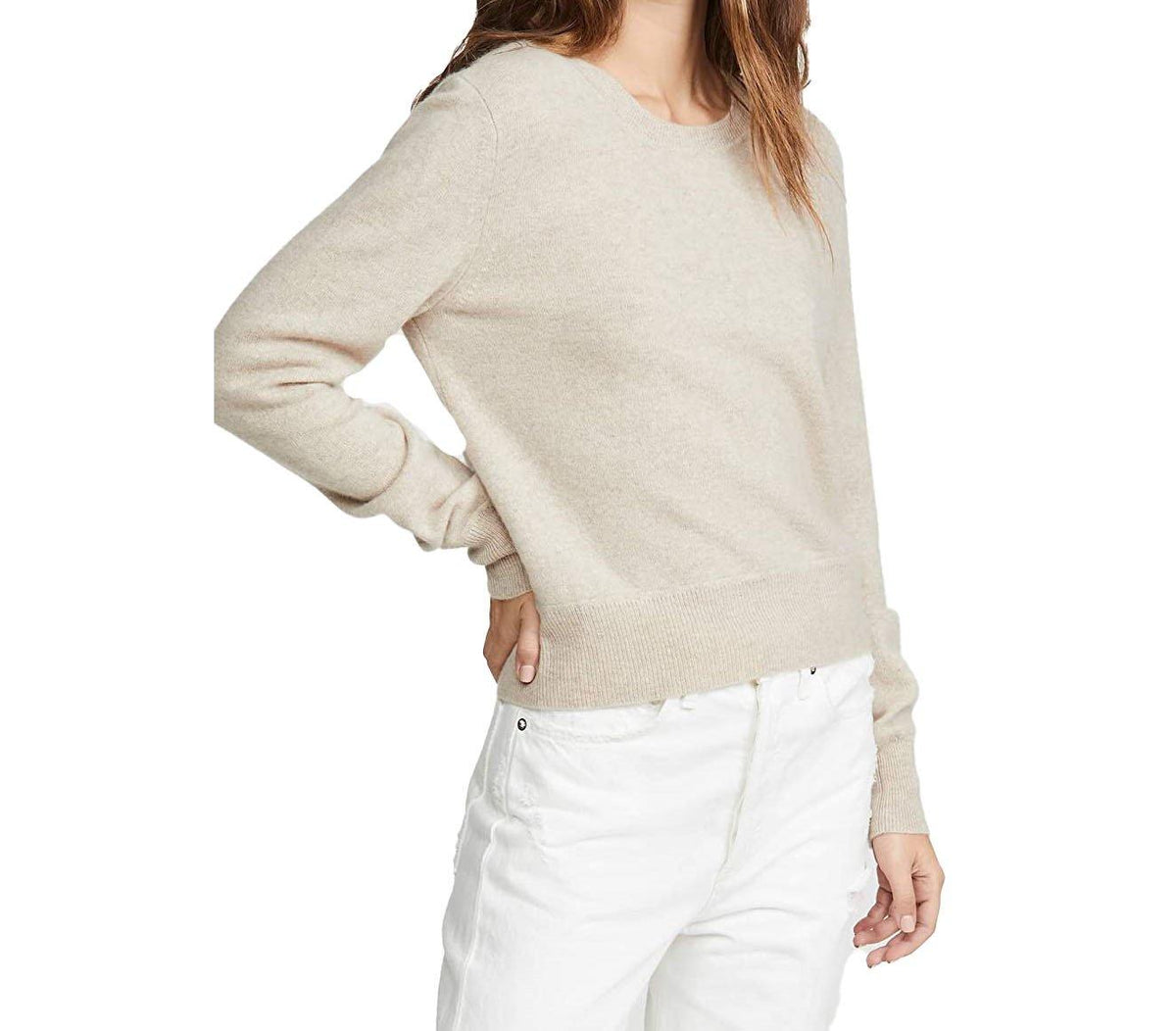 Cashmere Crew Neck Pullover - Oatmeal - Wheat Boutique