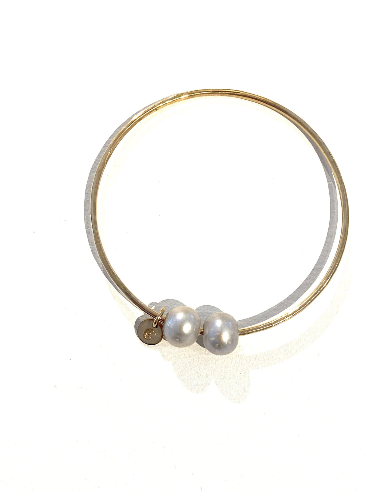 Gold Bangle 2 Pearls - Wheat Boutique