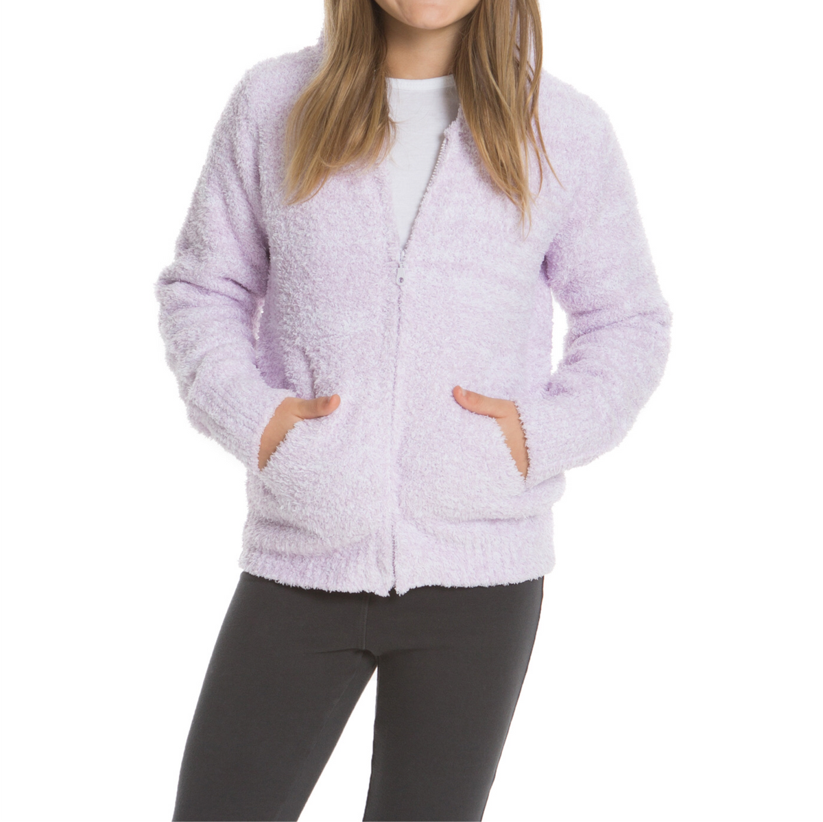 CozyChic Heathered Youth Zip-Up Hoodie - Wheat Boutique