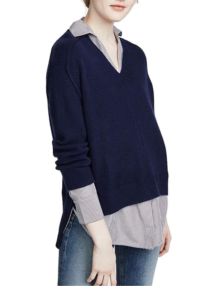 V-Neck Layered Sweater - Navy Pinstripe - Wheat Boutique