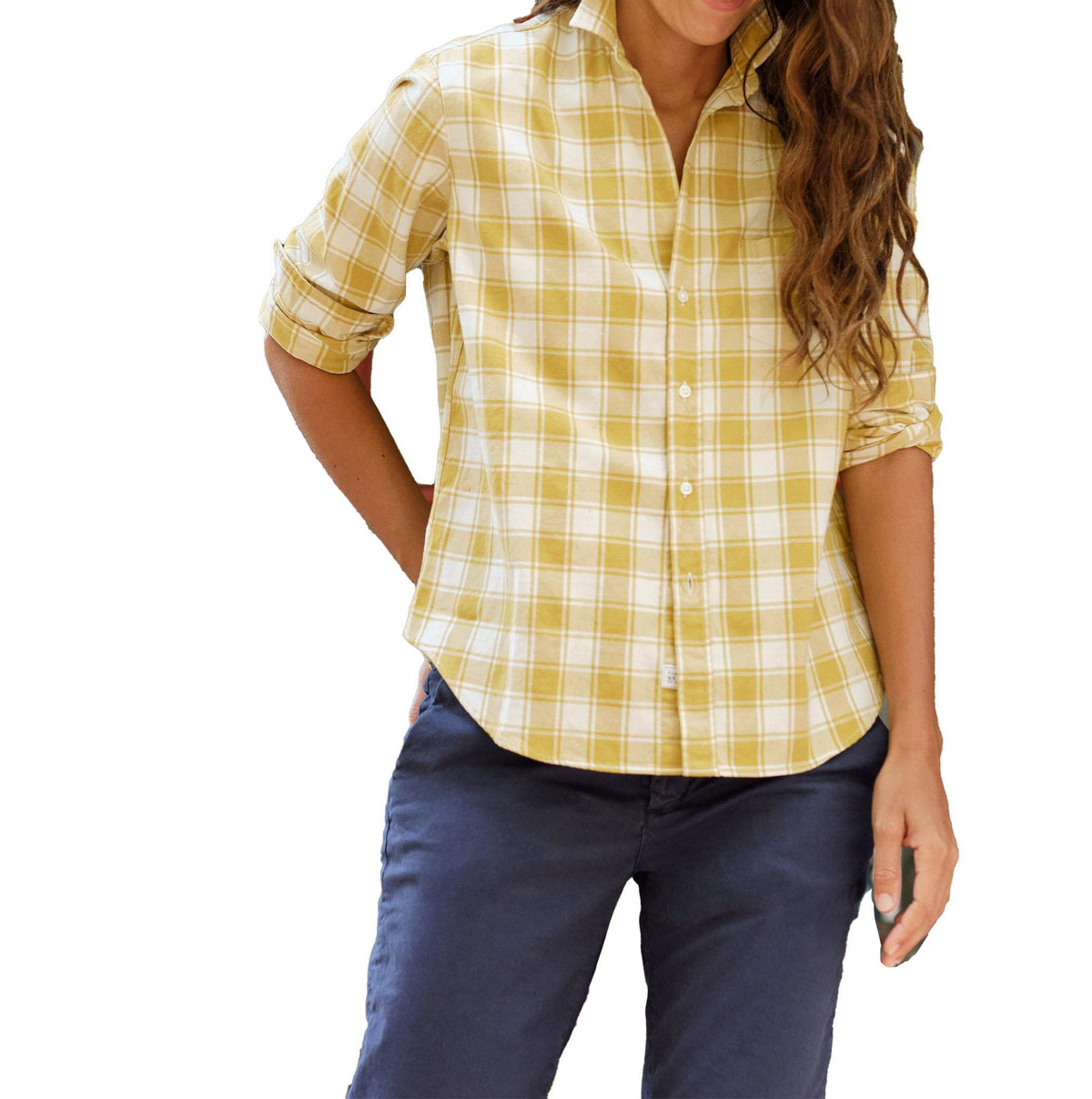 'Eileen' Woven Flannel Button Down - Yellow - Wheat Boutique