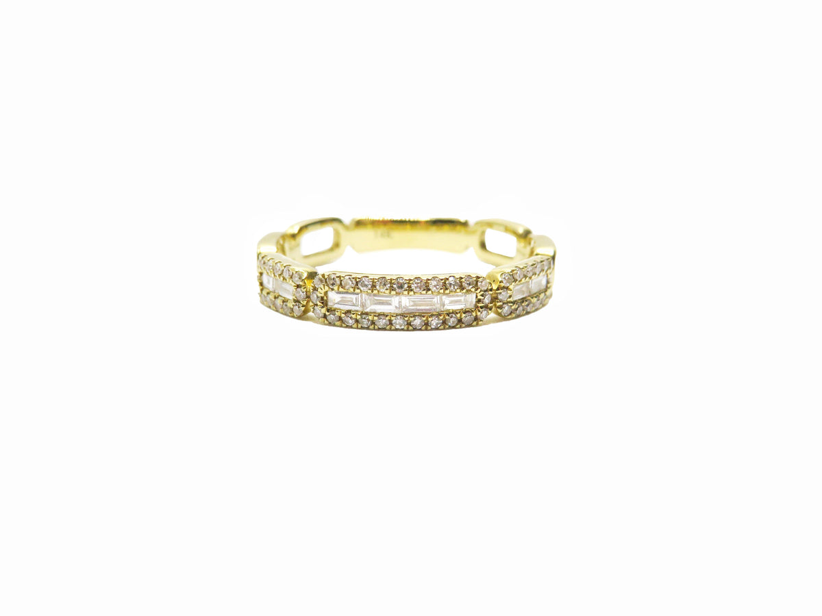 Baguette Diamond Patterned Ring