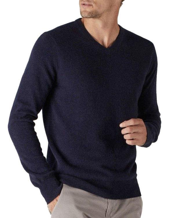 V Neck Pullover - Navy - Wheat Boutique