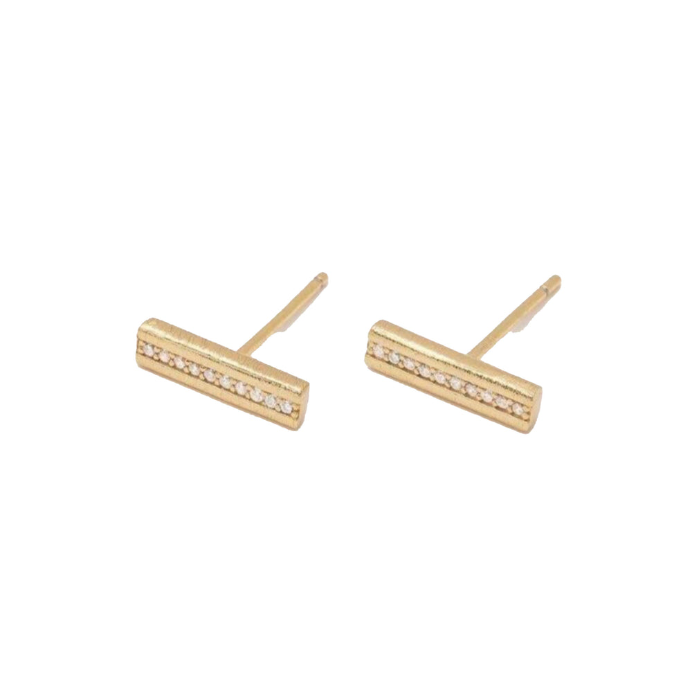 Load image into Gallery viewer, Nia Shimmer Bar Gold Earrings