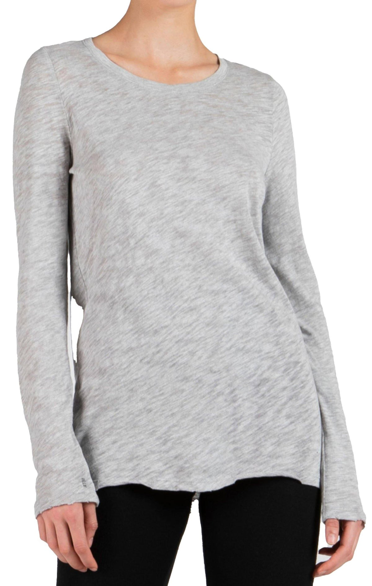 Destroyed Wash Long Sleeve Tee - Grey - Wheat Boutique