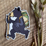 Sprouted Scribbles Black Bear Hiker Sticker