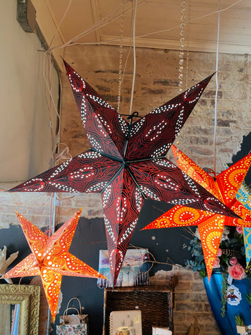 Star Paper Lantern - Midnight with Red