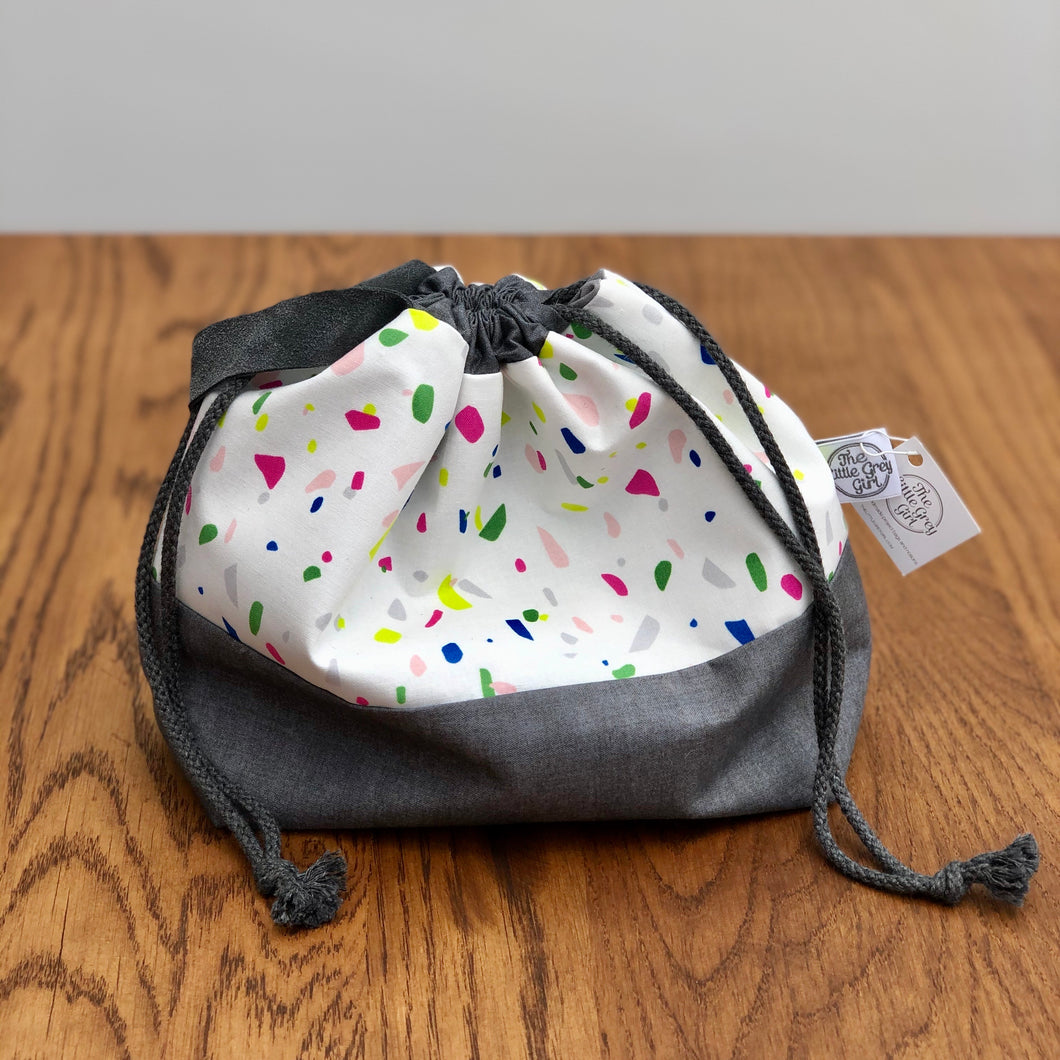 Cream Terrazzo Luxury Drawstring bag