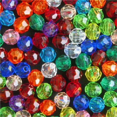 Plastic faceted beads