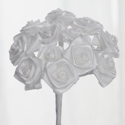 0.5 inch Mini Satin Ribbon Roses 144 Pieces - artcovecrafts.com