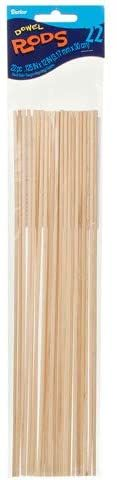 Wooden Dowel Rods 1/8 x 12 inches 22 pieces