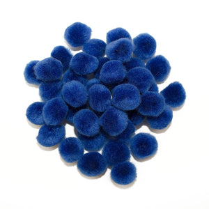 0.75 inch Royal Blue Mini Craft Pom Poms 100 Pieces - artcovecrafts.com
