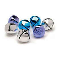 1.5 Inch 36mm Purple Blue Silver Large Jingle Bells 8 Pieces - artcovecrafts.com