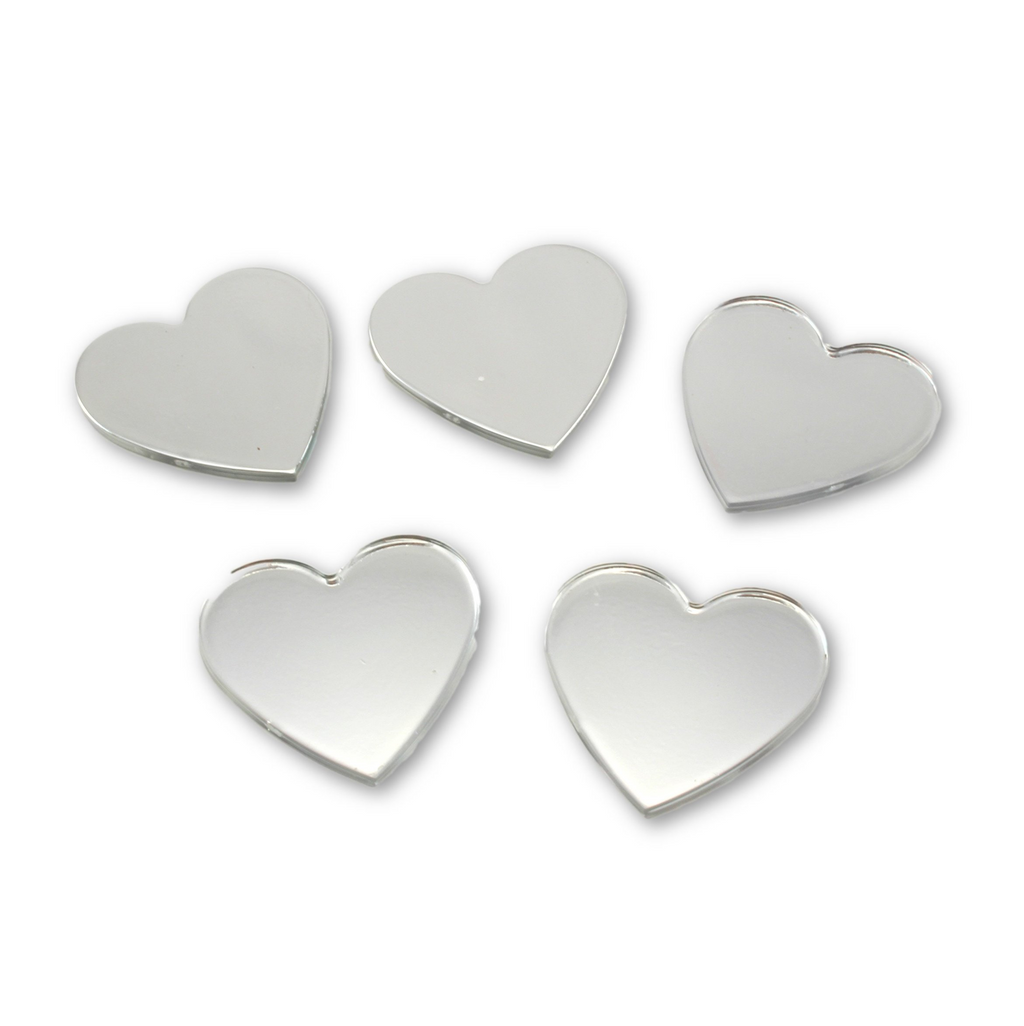 Acrylic Small Heart Mirrors 1.5 x 1.5 Inch 5 Pieces Heart Mirror Mosaic Tiles - artcovecrafts.com
