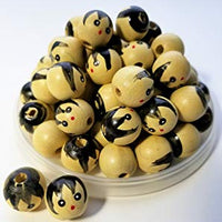 14mm 0.55 inch Small Natural Wood Doll Head Beads with Faces 100 Pieces - artcovecrafts.com
