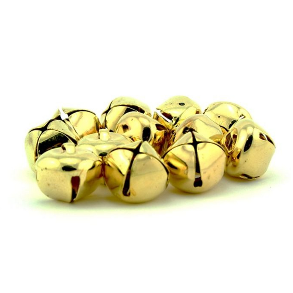 1 Inch Gold Craft Jingle Bells Charms 18 Pieces - artcovecrafts.com