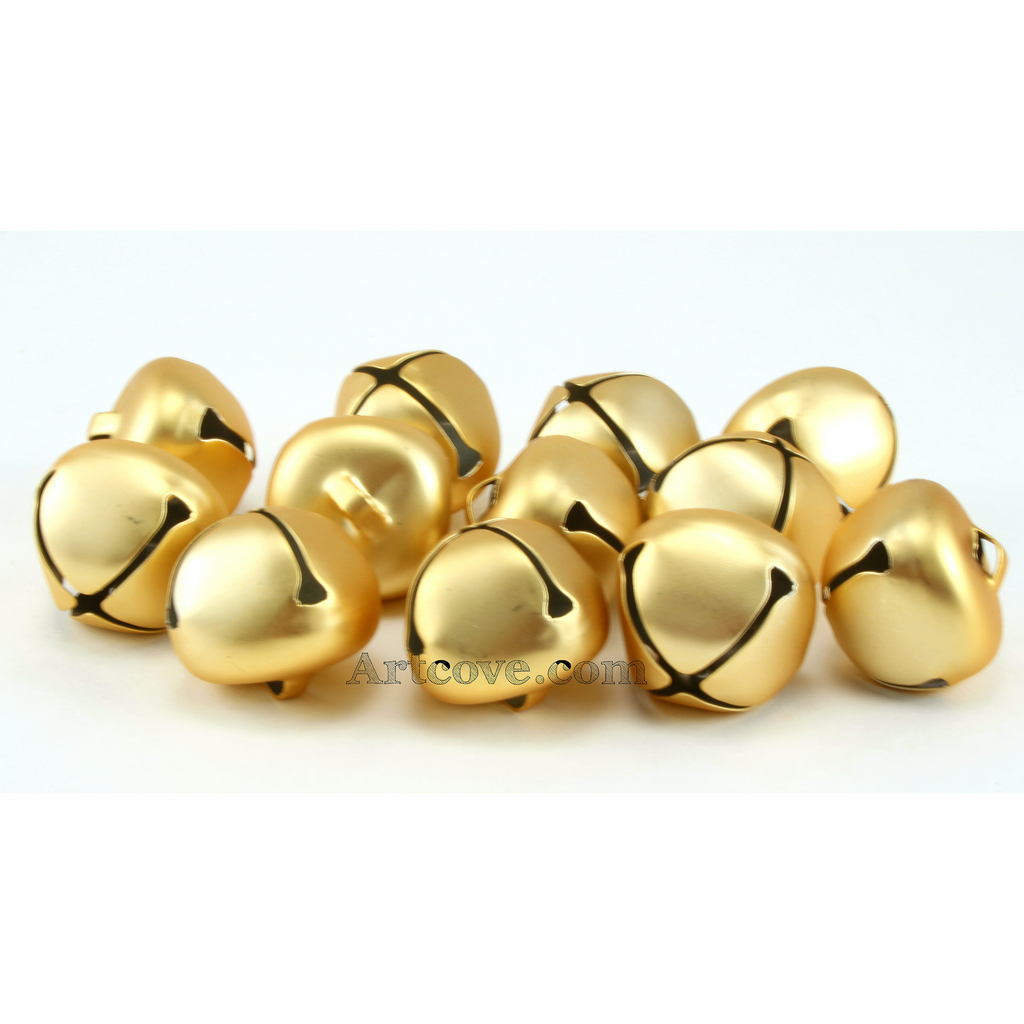 1 Inch 25mm Matte Gold Large Craft Jingle Bells 8 Pieces - artcovecrafts.com