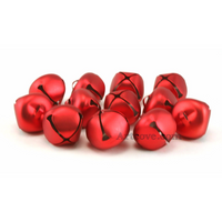 1 Inch 25mm Matte Red Large Craft Jingle Bells 8 Pieces - artcovecrafts.com