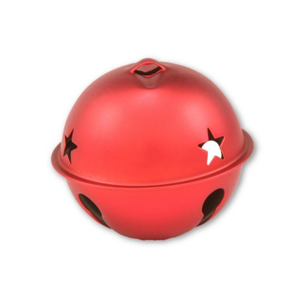 2.5 inch 65mm Matte Red Large Jingle Bell with Star 1 Piece - artcovecrafts.com