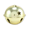2.75 Inch 70mm Gold Jumbo Large Craft Jingle Bell with Star Cutouts 1 Piece - artcovecrafts.com