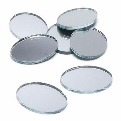 2 x 1.5 inch Mini Oval Glass Mirrors Bulk 24 Pieces Mosaic Mirror Tiles - artcovecrafts.com