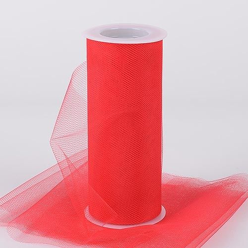Red Tulle 6 inch Roll 25 Yards - artcovecrafts.com