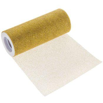 Metallic Gold Glitter Tulle Roll 6 inch by 10 Yards
