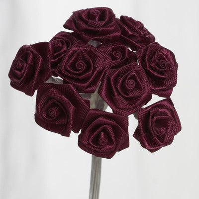 0.5 inch Burgundy  Mini Satin Ribbon Roses 144 Pieces - artcovecrafts.com