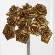 0.5 inch Metallic Gold Mini Satin Ribbon Roses 144 Pieces - artcovecrafts.com