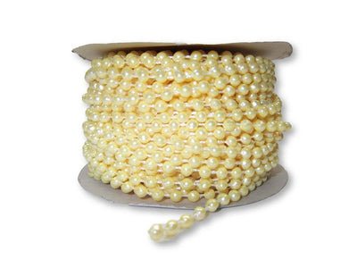 4mm Yellow Plastic Fused Pearls Garland Strands for Decorating & Crafts 24 Yards - artcovecrafts.com