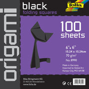 Folia Solid Origami Paper Black 6x6 inch 100 Sheets