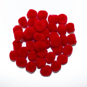 0.5 inch Red Tiny Craft Pom Poms 100 Pieces - artcovecrafts.com