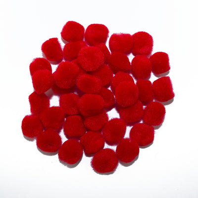 0.75 inch Red Mini Craft Pom Poms 100 Pieces - artcovecrafts.com