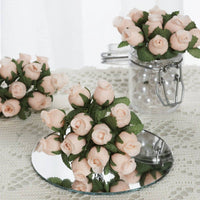 Peach Mini Rose Buds 144 Pieces - artcovecrafts.com