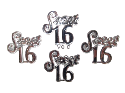 Miniature Acrylic Clear Sweet 16 Sign Charm Capias 24 Pieces