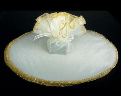White Tulle Circle 9 inch with Metallic Gold Edge 10 Pieces - artcovecrafts.com