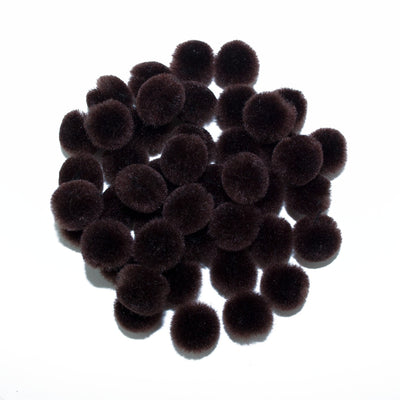 0.5 inch Brown Tiny Craft Pom Poms 100 Pieces - artcovecrafts.com