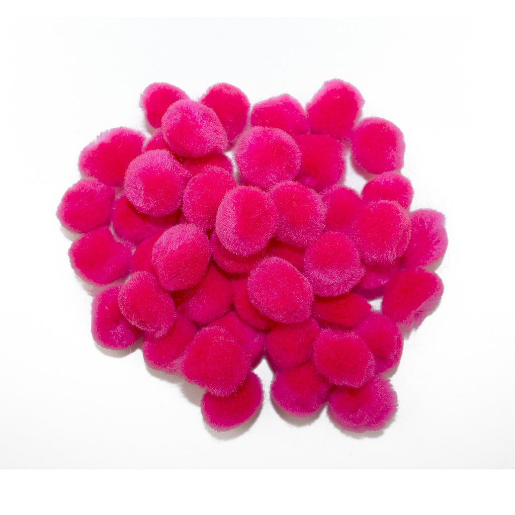 0.5 inch Neon Pink Tiny Craft Pom Poms 100 Pieces - artcovecrafts.com
