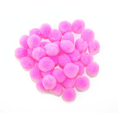 0.75 inch Pink Mini Craft Pom Poms 100 Pieces - artcovecrafts.com
