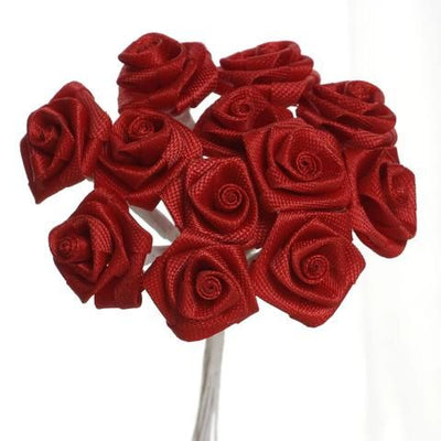 0.5 inch Red Mini Satin Ribbon Roses 144 Pieces - artcovecrafts.com