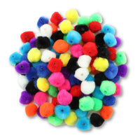 0.5 inch Multi Colored Pom Pom Beads 100 Pieces - artcovecrafts.com