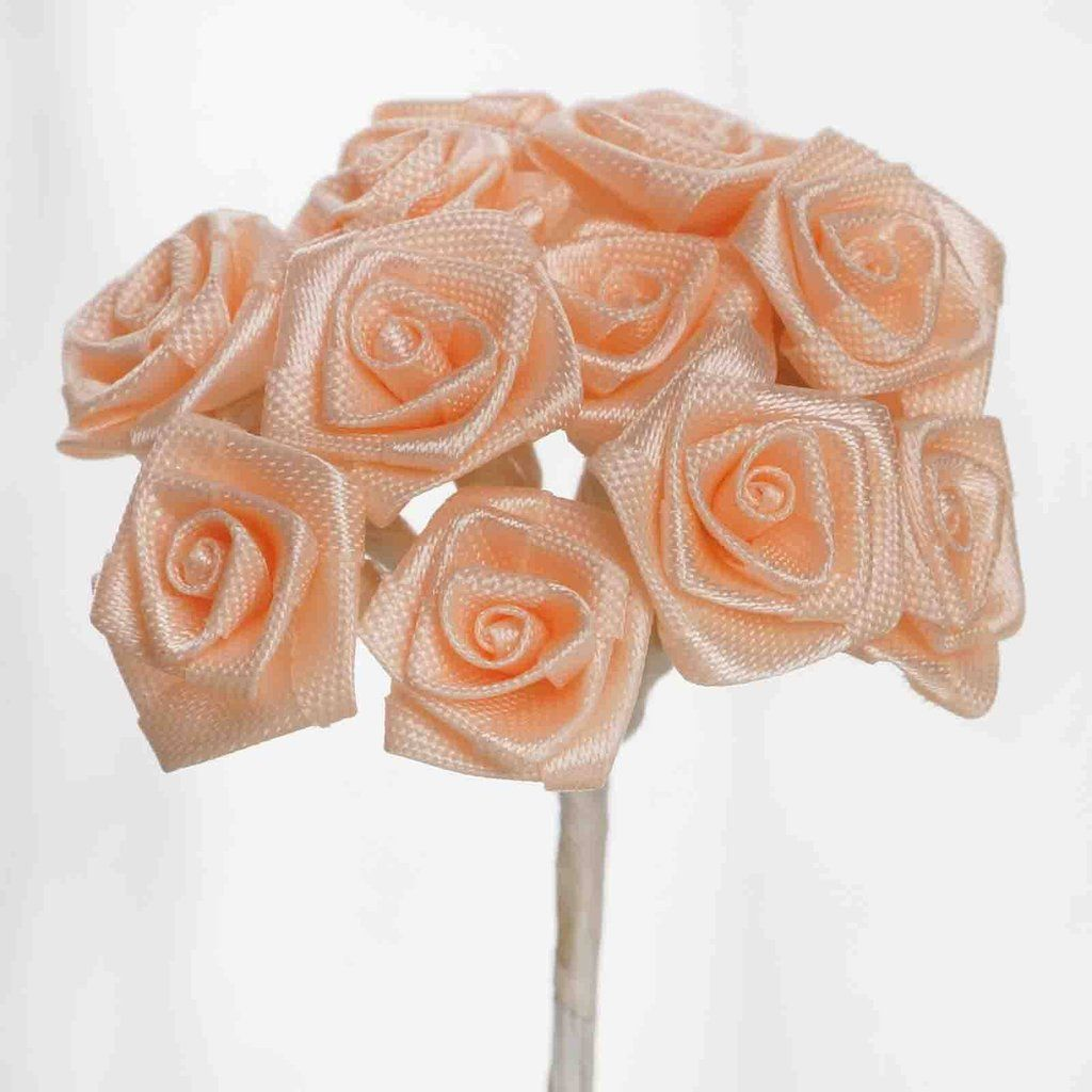 0.5 inch Peach Mini Satin Ribbon Roses 144 Pieces - artcovecrafts.com
