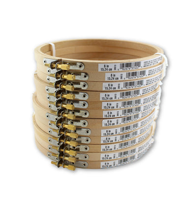 6 inch Round Wooden Embroidery Hoops Bulk Wholesale 12 Pieces - artcovecrafts.com