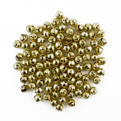 6mm Tiny Miniature Gold Craft Jingle Bells Charms 100 Pieces - artcovecrafts.com
